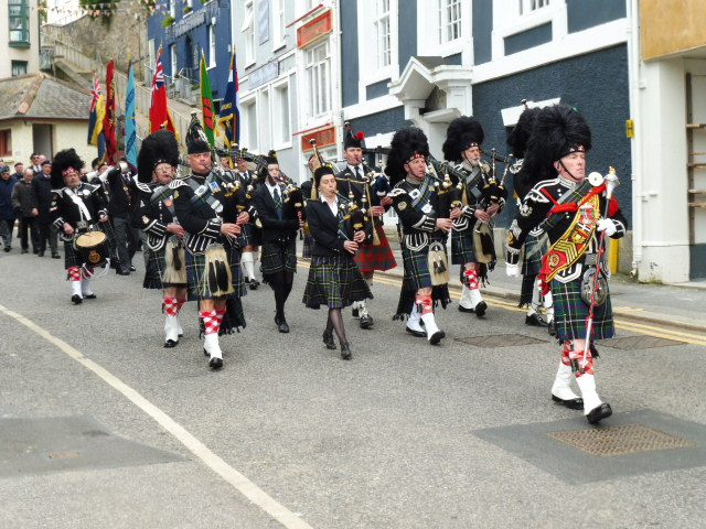 Kernow Pipes & Drums at St Nazaire Parade Falmouth 2016