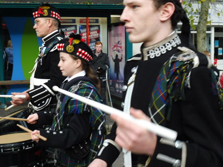 Drummers with Kernow Pipes and Drums