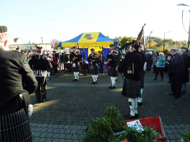 Kernow Pipes & Drums at Poppy Day in Truro 2016