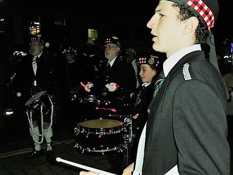 kernow pipes and drums at truro city of lights 2016