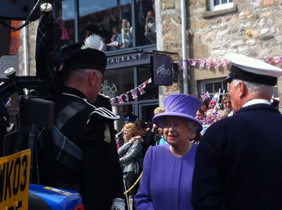Kernow Pipes and Drums meet HM the Queen at St Ives, Cornwall