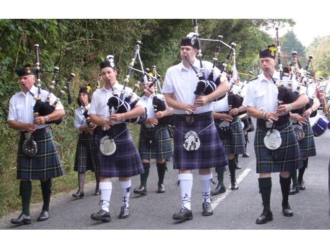 Kernow Pipes and Drums with Tarka Band at St Teath 2014