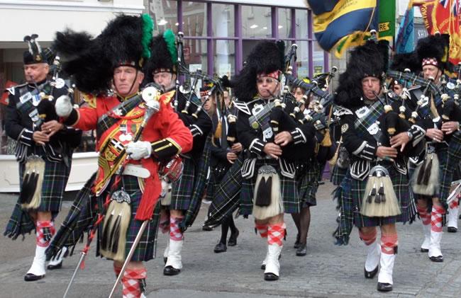 Kernow Pipes and Drums at Falmouth civic parade 2014