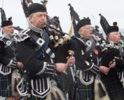 Kernow Pipes and Drums at St Nazaire Parade 2015