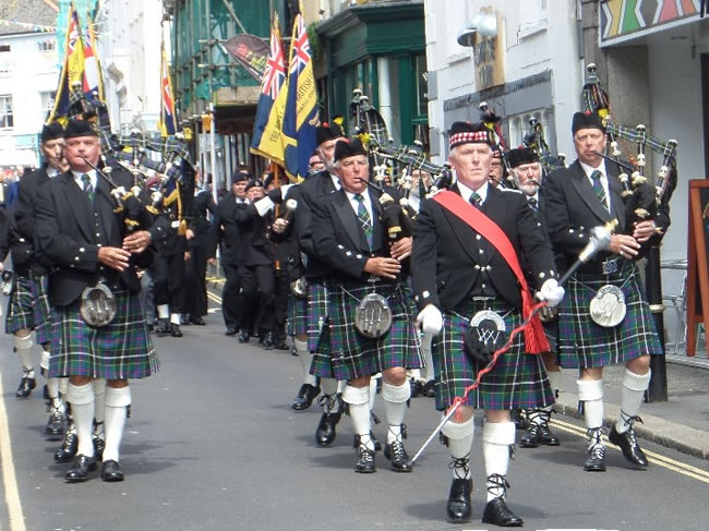 kernow pipes and drums at Falmouth civic parade