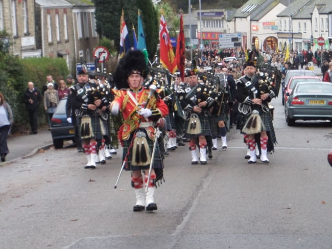 Kernow Pipes and Drums at Falmouth Remembrance Parade 2015