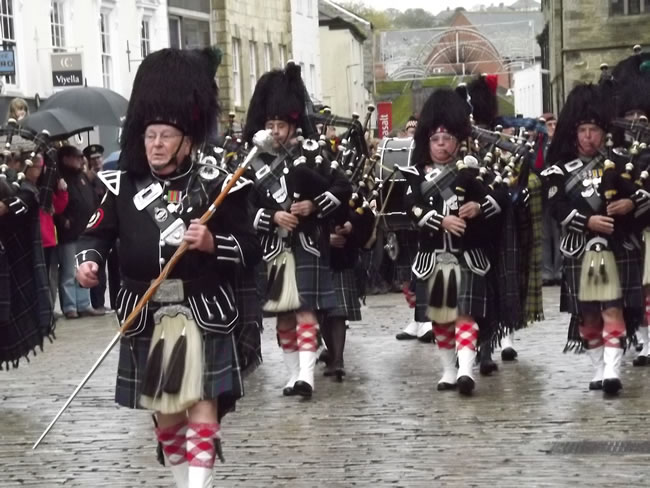 Kernow Pipes and Drums at Truro Remembrance parade 2013