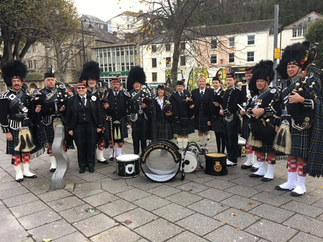Falmouth Remembrance Parade - Kernow Pipes and Drums