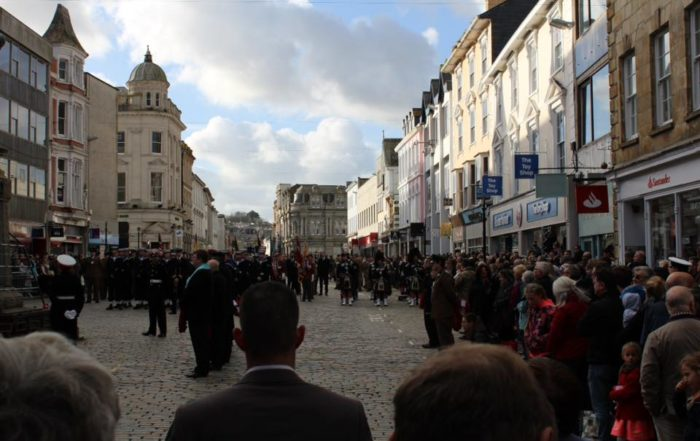 Kernow pipes and drums at truro remembrance parade