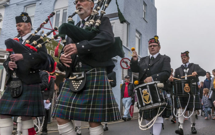 Kernow Pipes and Drums at Newquay lifeboat day 2018