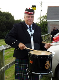 Steve plays snare drum with kernow pipes and drums