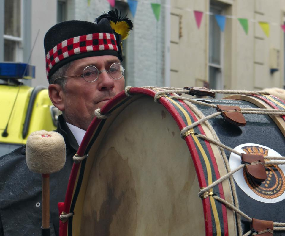 Kernow Pipes & Drums lead the Falmouth Mayor's Civic Parade 2018
