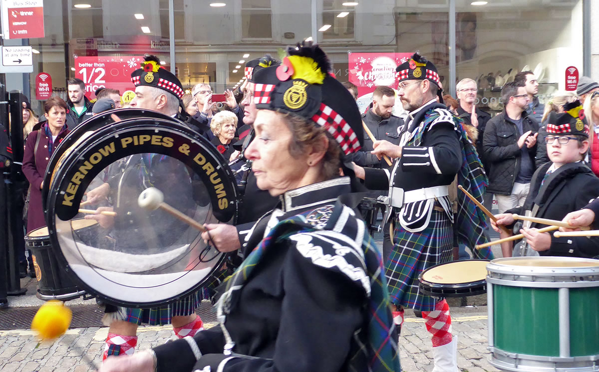 Kernow Pipes & Drums Remembrance Truro 2018