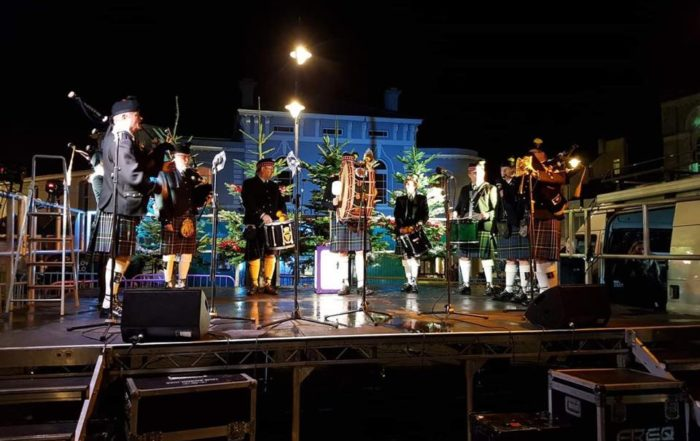 Kernow Pipes and Drums at Falmouth Christmas Lights switch on 2018