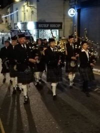 Kernow Pipes and Drums at Newquay Lantern Parade 2018
