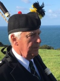 Alex of Kernow Pipes and Drums at Port Isaac carnival 2019