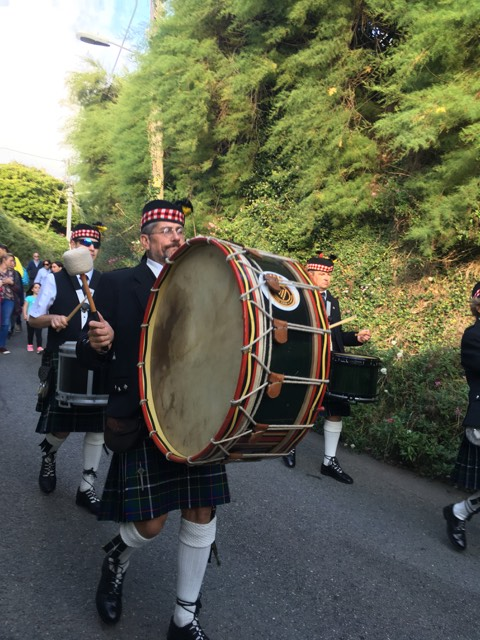 Chris of Kernow Pipes and Drums at Port Isaac carnival 2019