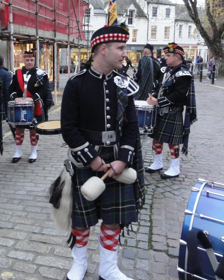drummers of kernow pipes and drums at truro remembrance parade 2019