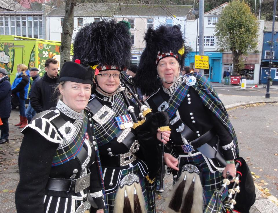 keith, emma and dave of kernow pipes and drums