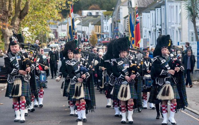 kernow pipes and drums at falmouth remembrance parade 2019 photo © colin higgs, falmouth packet