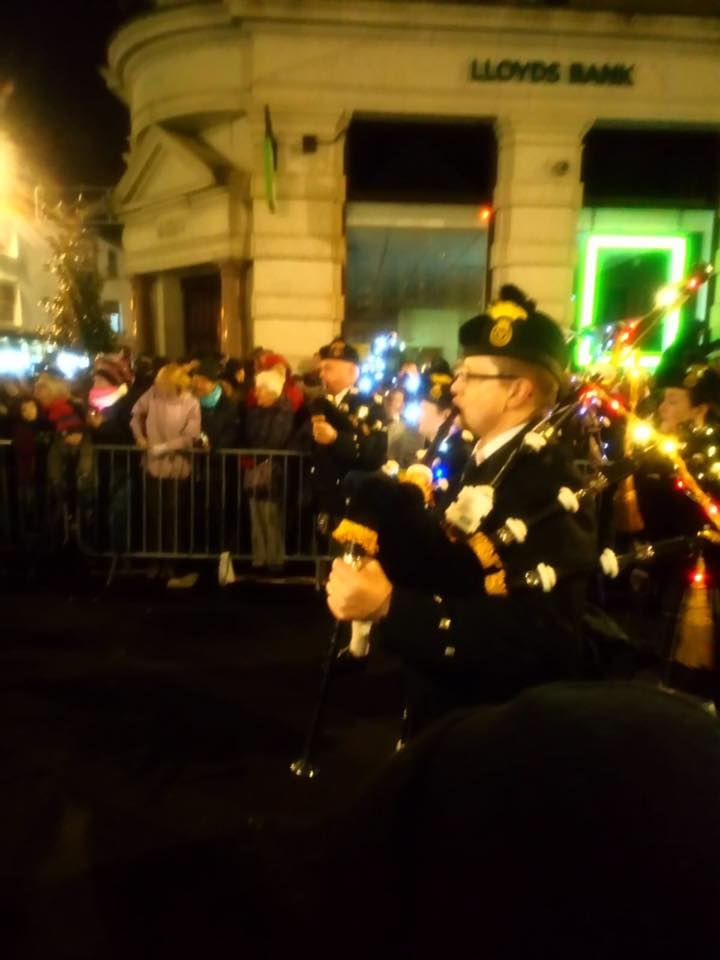 kernow pipes and drums at truro city of lights parade 2019