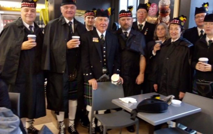 kernow pipes and drums relaxing after the poppy launch in truro 2019