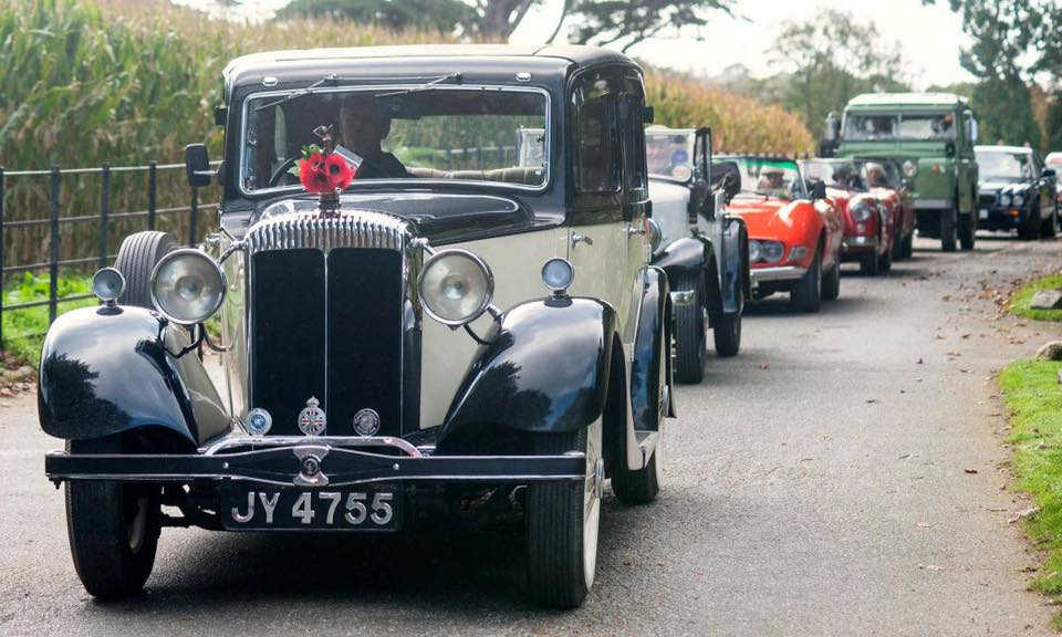 vintage cars at the poppy launch rally at trebah gardens 2019